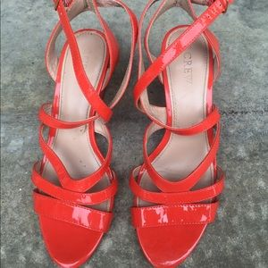 J.Crew strappy wedge sandals in coral color.
